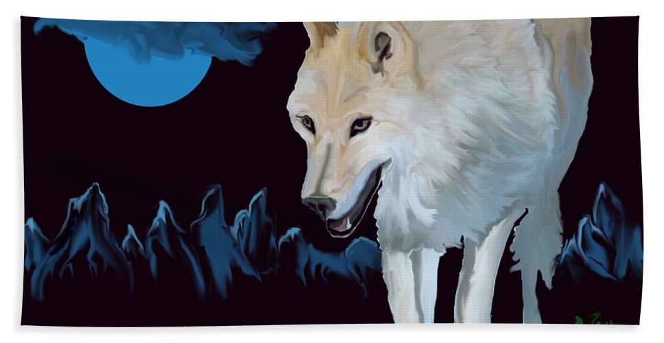 Wolf Moon Night Mountain Drawing Dark Blue Wild Animal Nature Beach Towel featuring the digital art That Wolf by Andrea Lawrence