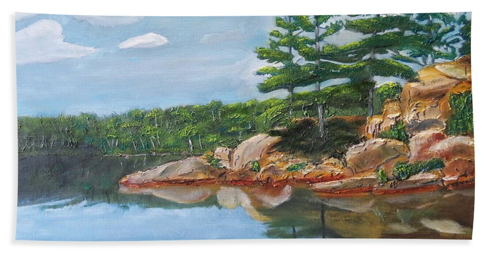 Scenery Beach Towel featuring the painting That's The Point by Sal Cutrara