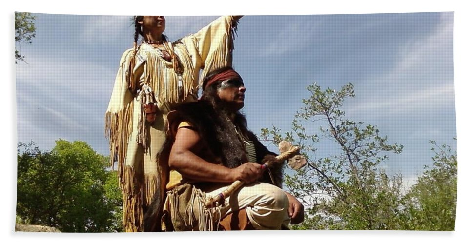 Indian Maiden Scout Indians Beach Towel featuring the photograph Thats Where I Saw The White Man by Cindy New