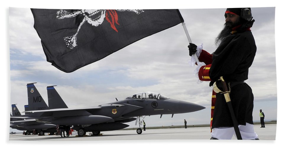 Jet Beach Towel featuring the photograph The 428th Fighter Squadron Buccaneer by Stocktrek Images