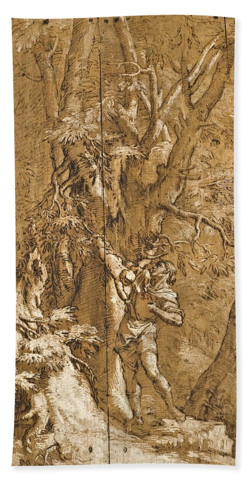 Salvator Rosa Beach Towel featuring the painting The Abandoned Oedipus by Salvator Rosa