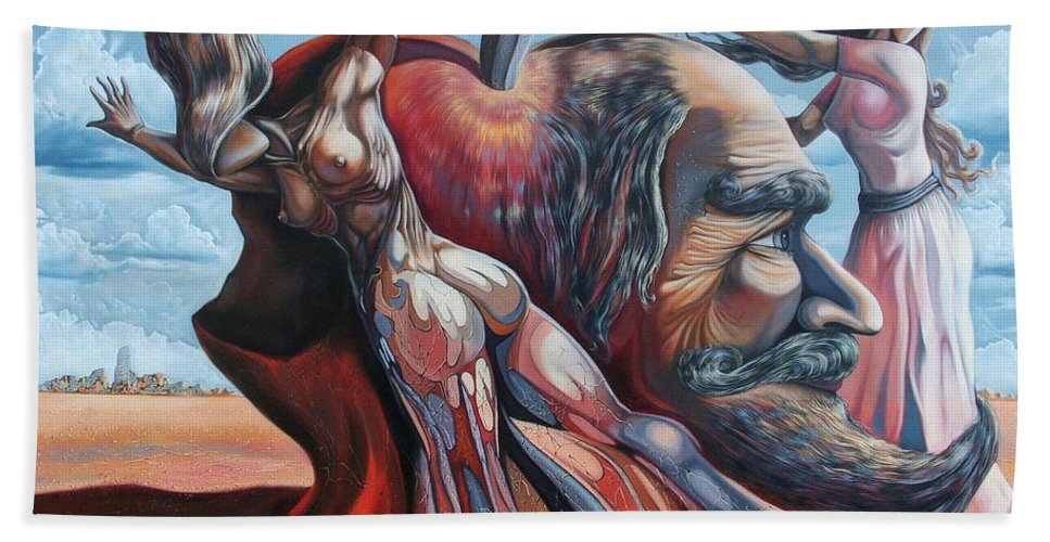 Surrealism Beach Towel featuring the painting The Adam-eve Delusion by Darwin Leon