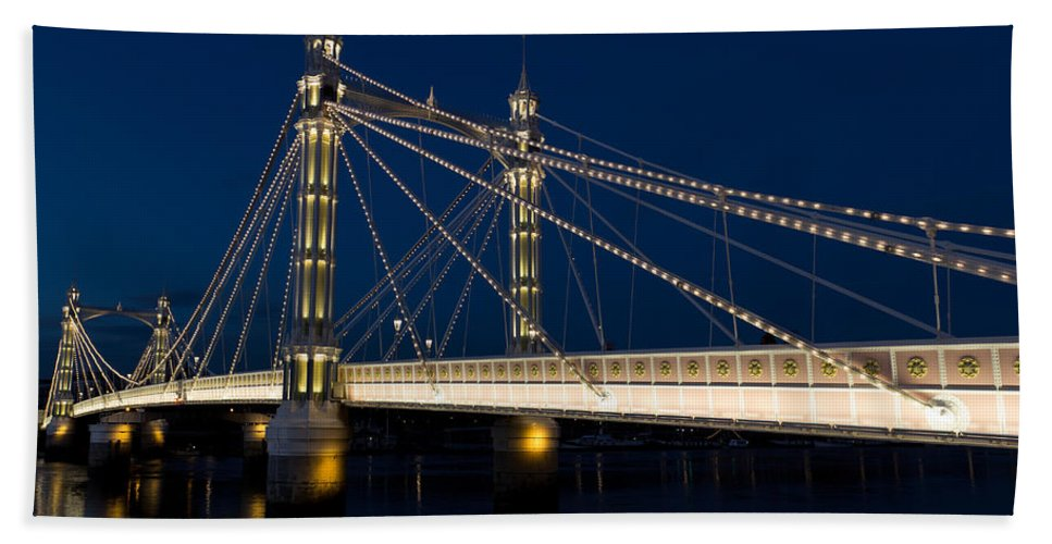 Albert Bridge Beach Towel featuring the photograph The Albert Bridge London by David Pyatt