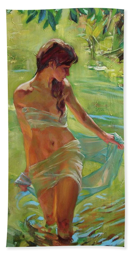Ignatenko Beach Towel featuring the painting The allegory of summer by Sergey Ignatenko