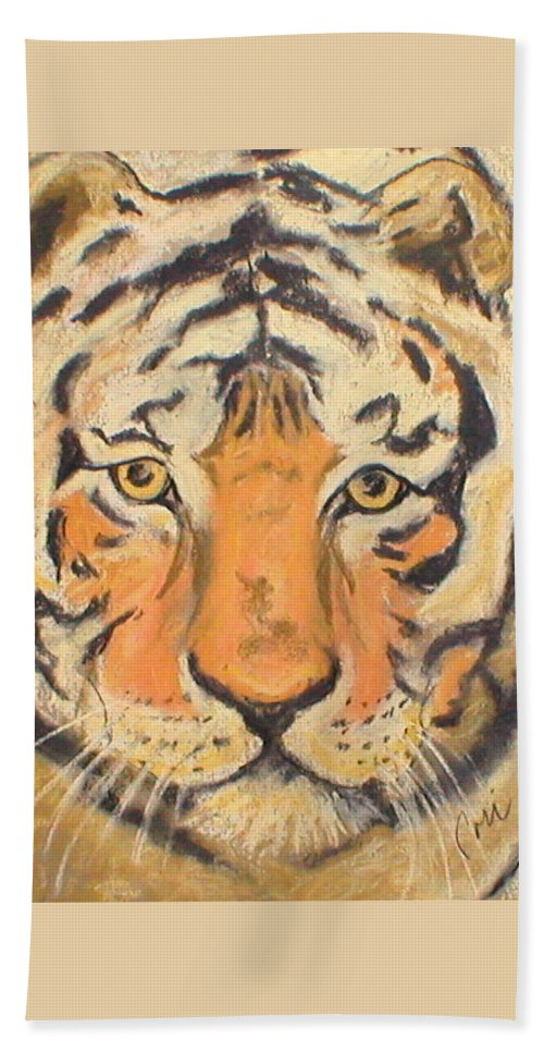 Pastel Beach Towel featuring the drawing The Amber Stare by Cori Solomon