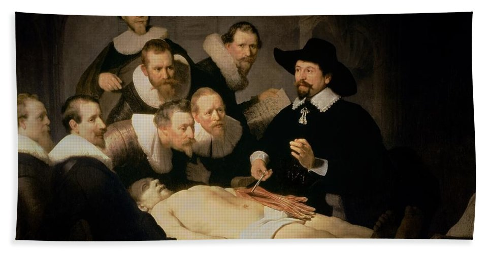 The Anatomy Lesson Of Doctor Nicolaes Tulp Beach Towel For Sale By