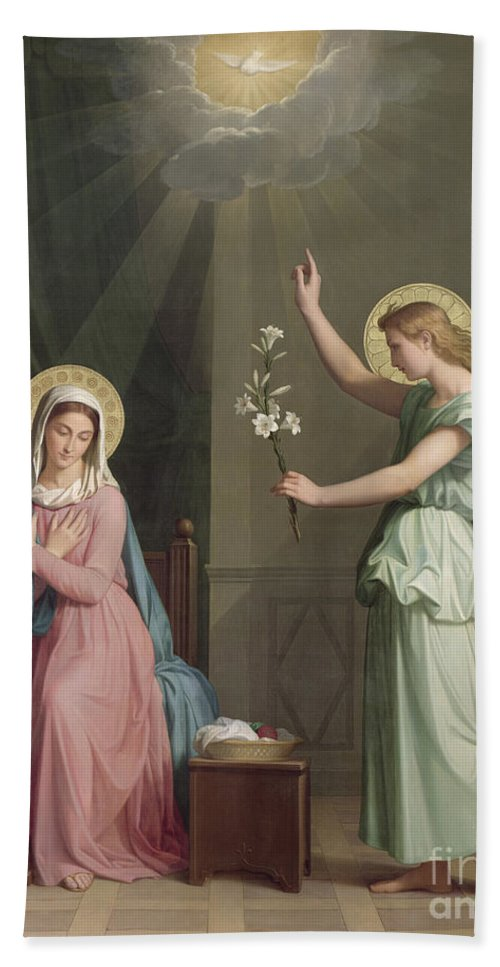 The Beach Towel featuring the painting The Annunciation by Auguste Pichon