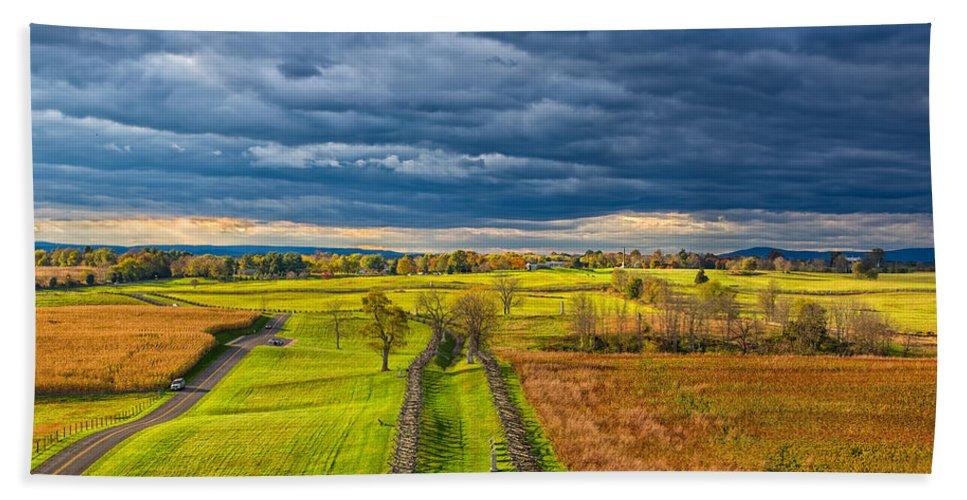 Sky Beach Towel featuring the photograph The Antietam Battlefield by John M Bailey