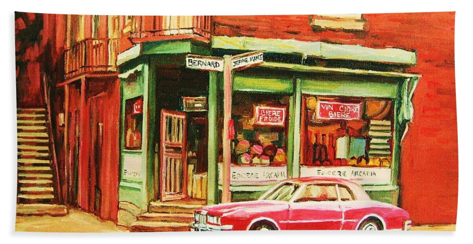 Montreal Beach Towel featuring the painting The Arcadia Five And Dime Store by Carole Spandau