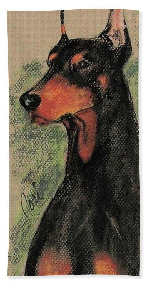 Doberman Pinscher Beach Towel featuring the drawing The Aristocrat by Cori Solomon