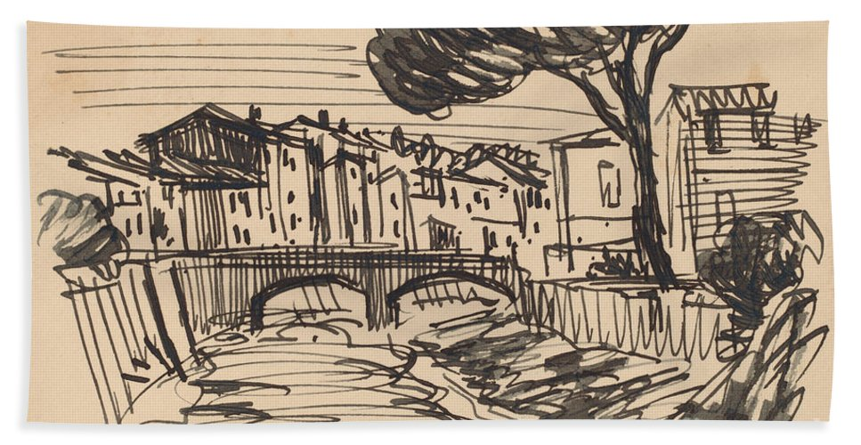 Beach Towel featuring the drawing The Arno In The Evening, Florence by Oscar F. Bluemner