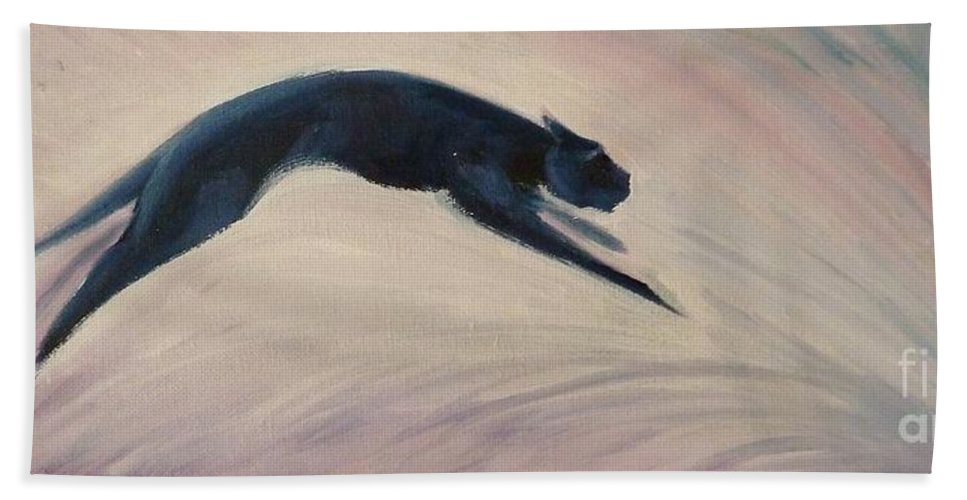 Feline Beach Towel featuring the painting The Art Of Movement by K M Pawelec