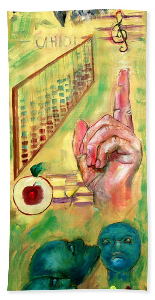 Teacher Teach Learn Owls Trust Teach Children Students Apples Abacus Music Souls Beach Towel featuring the painting The Art Of Teaching by Peter Bonk