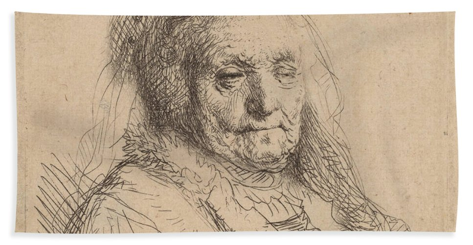 Beach Towel featuring the drawing The Artist's Mother, Head And Bust by Rembrandt Van Rijn