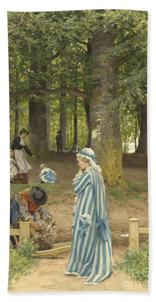 Beach Towel featuring the drawing The Artist's Wife And Daughters In A Park At Heringsdorf by Anton Von Werner