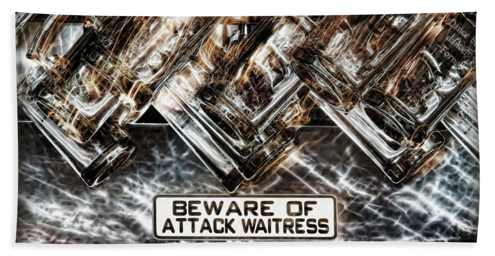 Alcohol Beach Towel featuring the digital art The Attack Waitress by Joan Minchak