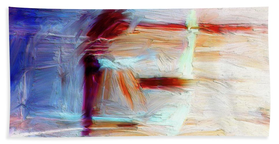 Abstract Beach Towel featuring the painting The Auberge by Dominic Piperata