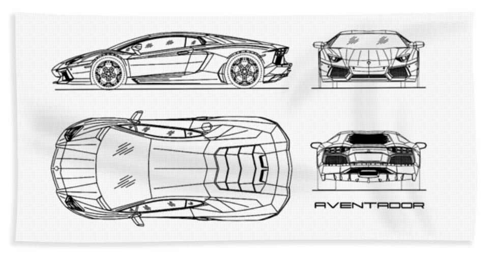 The Aventador Blueprint - White Beach Towel for Sale by Mark Rogan