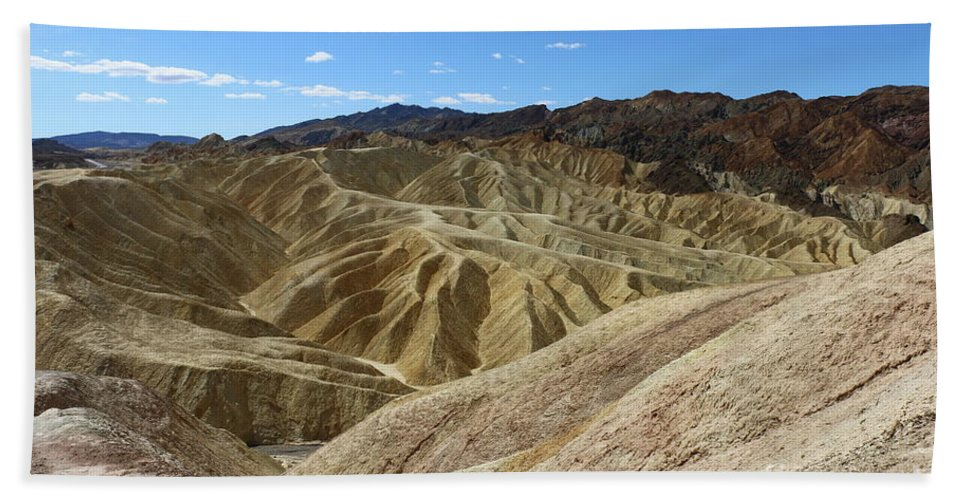 Badlands Beach Towel featuring the photograph The Badlands Of Death Valley by Christiane Schulze Art And Photography