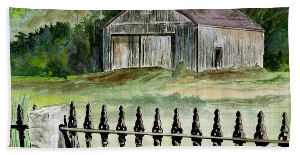 Landscape Beach Towel featuring the painting The Barn At Parsonsfield Maine by Brenda Owen