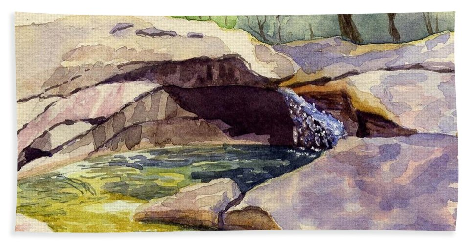 The Basin Beach Towel featuring the painting The Basin by Sharon E Allen