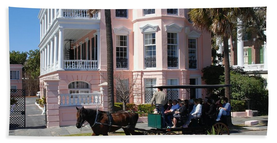 Photography Beach Towel featuring the photograph The Battery In Charleston by Susanne Van Hulst