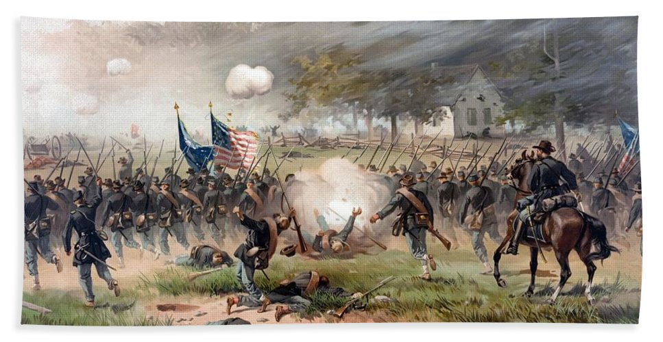 Civil War Beach Towel featuring the painting The Battle Of Antietam by War Is Hell Store