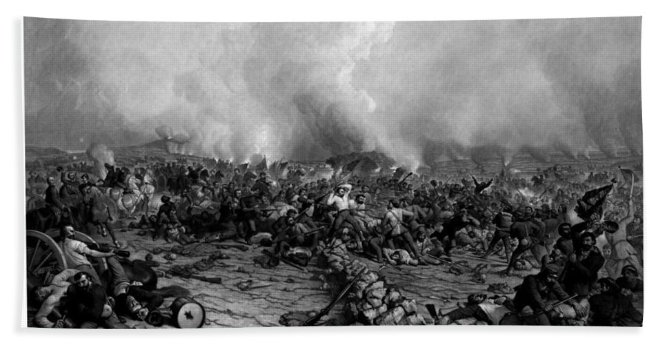 Gettysburg Beach Towel featuring the drawing The Battle Of Gettysburg by War Is Hell Store