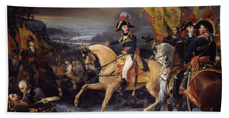 The Beach Towel featuring the painting The Battle Of Hohenlinden by Henri Frederic Schopin