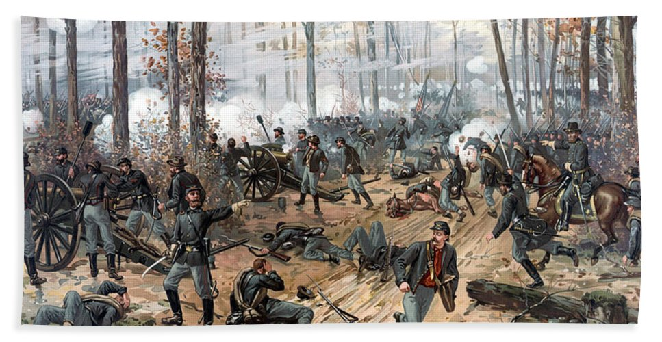 Civil War Beach Towel featuring the painting The Battle Of Shiloh by War Is Hell Store