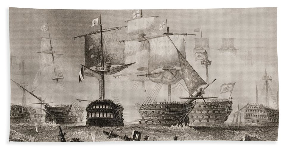 Black And White Beach Towel featuring the drawing The Battle Of Trafalgar. Engraved By by Vintage Design Pics