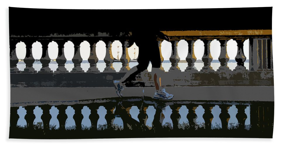 Bayshore Boulevard Beach Towel featuring the painting The Bayshore Runner by David Lee Thompson