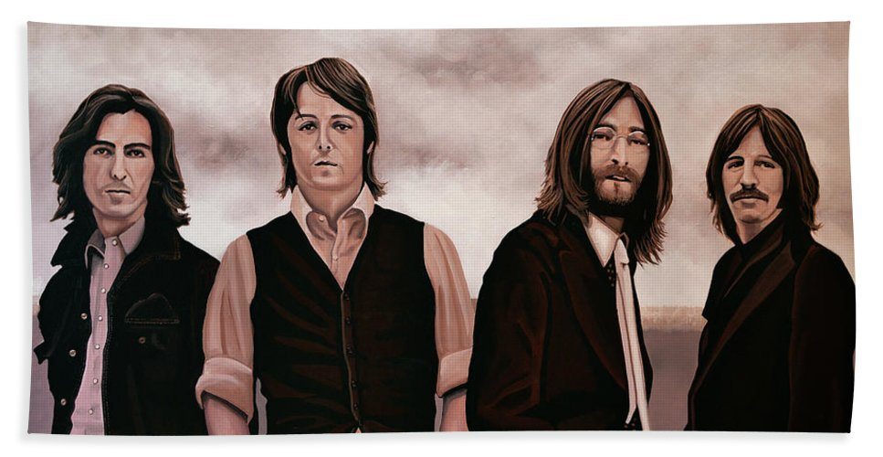 The Beatles Beach Towel featuring the painting The Beatles 3 by Paul Meijering