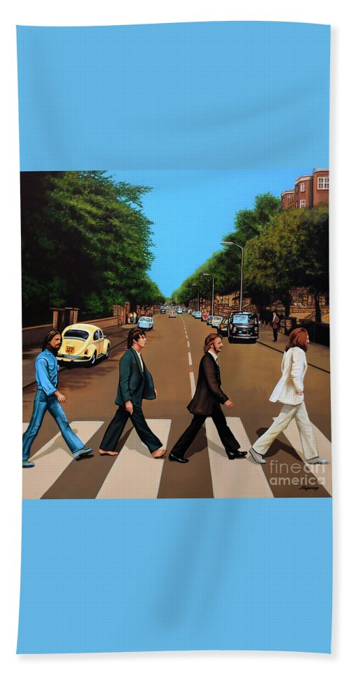 The Beatles Beach Towel featuring the painting The Beatles Abbey Road by Paul Meijering