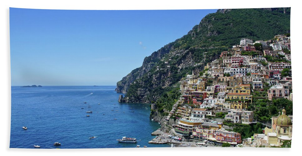 Positano Beach Towel featuring the photograph The Beautiful And Famous Amalfi Coast by Brian Kamprath