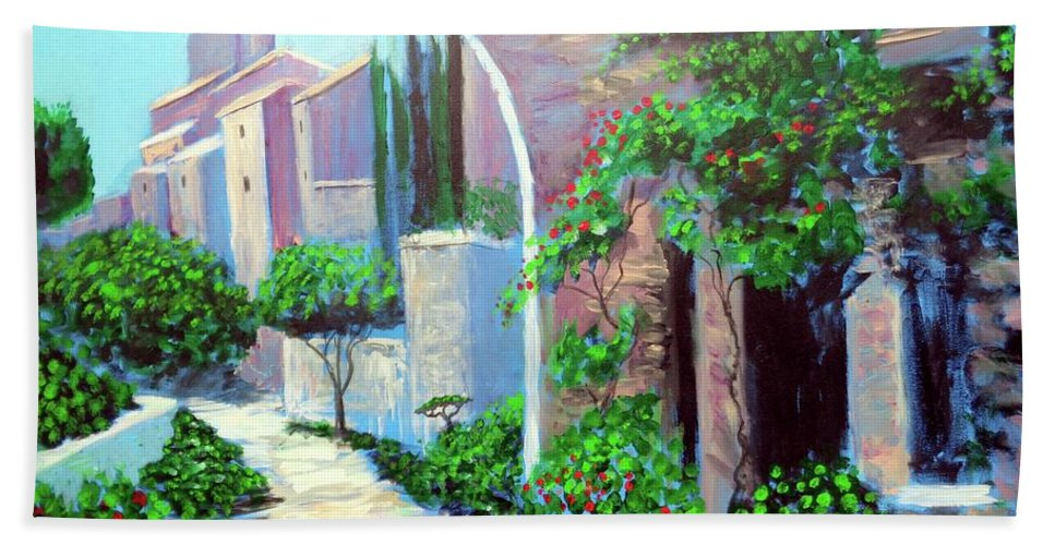 .italy Mediterranean Art Tuscany Beach Towel featuring the painting The Beautiful Way by Larry Cirigliano