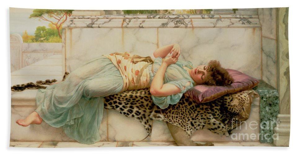The Betrothed Beach Towel featuring the painting The Betrothed by John William Godward