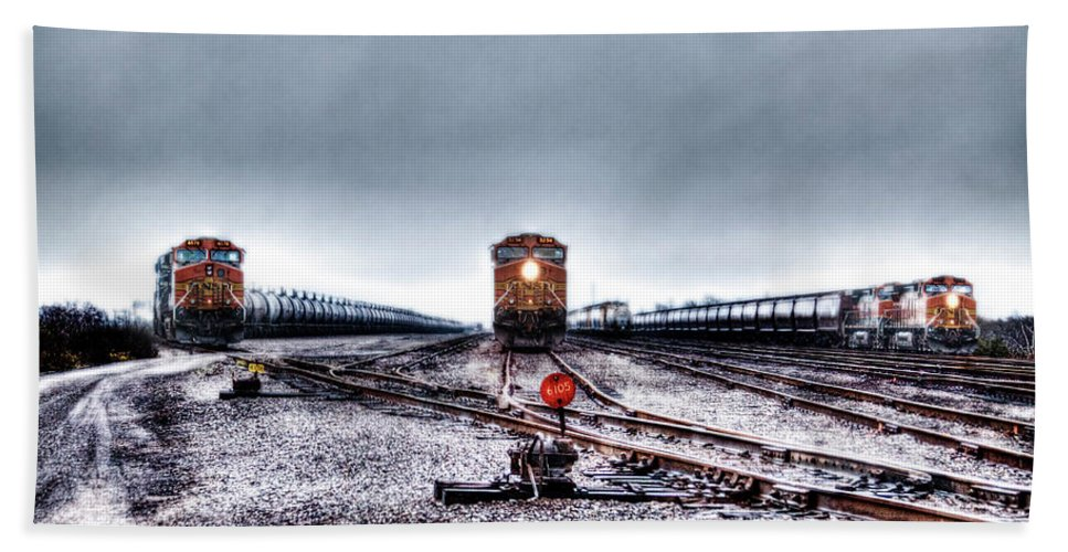 Train Beach Towel featuring the photograph The Big 3 by Doc Hafferty