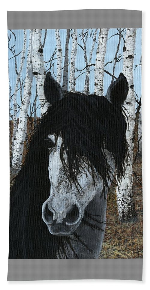 Horse Beach Towel featuring the painting The Birch Horse by Jennifer Nilsson