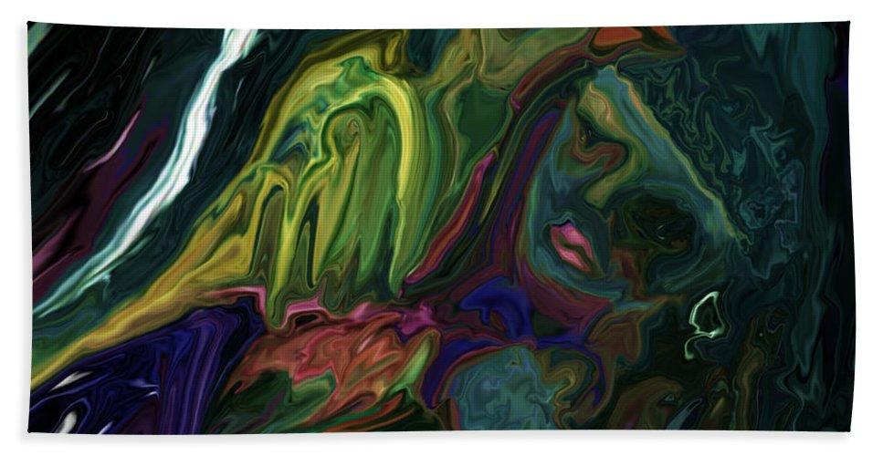 Abstract Beach Towel featuring the digital art The Bird Man by Rabi Khan