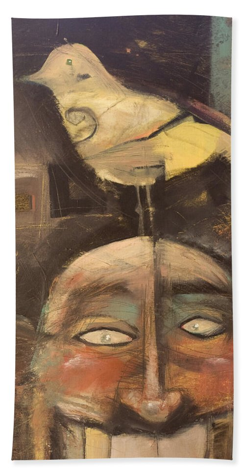 Bird Beach Sheet featuring the painting The Birdman Of Alcatraz by Tim Nyberg