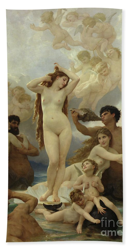 The Beach Towel featuring the painting The Birth of Venus by William-Adolphe Bouguereau