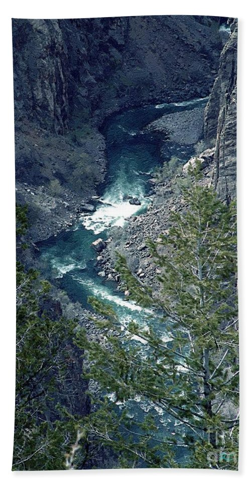 Canyon Beach Sheet featuring the painting The Black Canyon Of The Gunnison by RC DeWinter