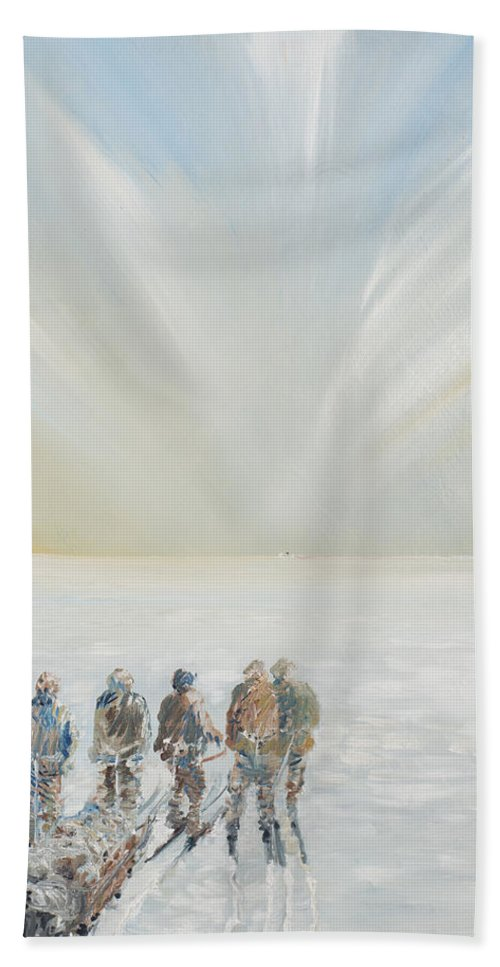 Snow Beach Towel featuring the painting The Black Speck by Vincent Alexander Booth