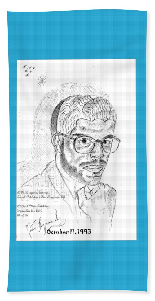 Drawing Of Black Man Face Beach Towel featuring the digital art The Black Thinker by Anthony Benjamin