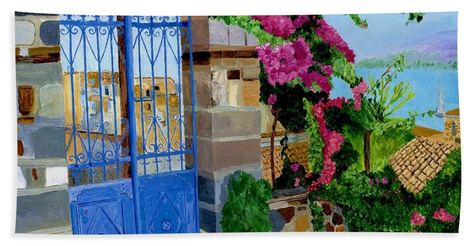 Poros Island Gate Beach Towel featuring the painting The Blue Gate by Rodney Campbell