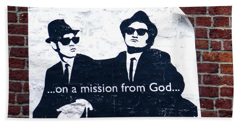 The Blues Brothers.dan Aykroyd Beach Towel featuring the photograph The Blues Brothers by Dave Mills