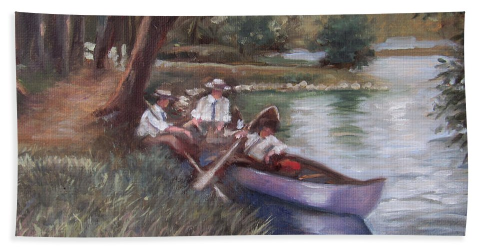 Seascape Beach Towel featuring the painting The Boating Men by Don Locke