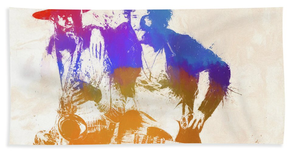 Bruce And The Big Man Beach Towel featuring the painting The Boss And The Big Man by Dan Sproul