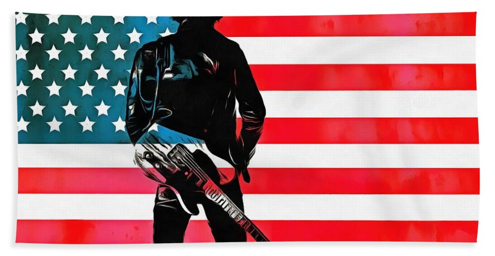Springsteen American Icon Beach Towel featuring the digital art The Boss by Dan Sproul
